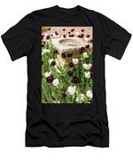 Tulips Surround The Bird Bath Men's T-Shirt (Athletic Fit)