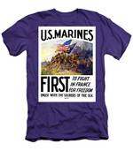Us Marines - First To Fight In France Men's T-Shirt (Athletic Fit)