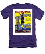 U.s. Marines - Service On Land And Sea Men's T-Shirt (Athletic Fit)