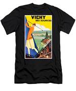 Vichy, Sport Tourism, Woman Play Golf Men's T-Shirt (Athletic Fit)