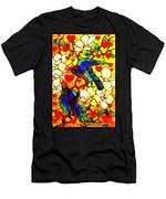 Love Birds In The Love Tree With Hibiscus Men's T-Shirt (Athletic Fit)