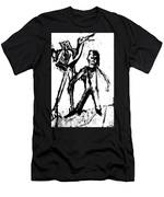 Man Standing With A Bird Men's T-Shirt (Athletic Fit)