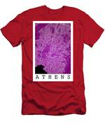 Athens Street Map - Athens Greece Road Map Art On Color Men's T-Shirt (Athletic Fit)
