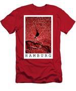 Hamburg Street Map - Hamburg Germany Road Map Art On Colored Bac Men's T-Shirt (Athletic Fit)