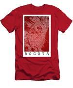 Bogota Street Map - Bogota Colombia Road Map Art On Colored Back Men's T-Shirt (Athletic Fit)