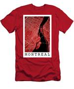 Montreal Street Map - Montreal Canada Road Map Art On Colored Ba Men's T-Shirt (Athletic Fit)
