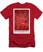 Nuremberg Street Map - Nuremberg Germany Road Map Art On Colored Men's T-Shirt (Athletic Fit)