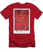 Paris Street Map - Paris France Road Map Art On Colored Backgrou Men's T-Shirt (Athletic Fit)