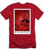 Sudbury Street Map - Sudbury Canada Road Map Art On Colored Back Men's T-Shirt (Athletic Fit)