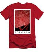 Toronto Street Map - Toronto Canada Road Map Art On Colored Back Men's T-Shirt (Athletic Fit)