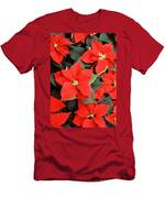 Beautiful Red Poinsettia Christmas Flowers Men's T-Shirt (Athletic Fit)