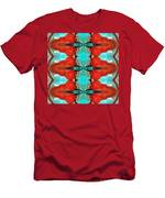 Color Chant - Red And Aqua Pattern Art By Sharon Cummings Men's T-Shirt (Athletic Fit)