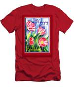 Happy Birthday Pink Poppies Men's T-Shirt (Athletic Fit)