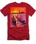 Italy - Venice Gondolas - Abstract Fiery Sunrise  Men's T-Shirt (Athletic Fit)