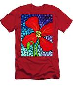 Lady In Red - Poppy Flower Art By Sharon Cummings Men's T-Shirt (Athletic Fit)