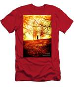 Man Standing In Front Of A Blazing Forest Fire Men's T-Shirt (Athletic Fit)