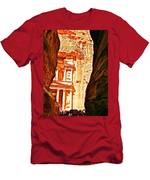 Morning View Of The Treasury From The Gorge In Petra-jordan  Men's T-Shirt (Athletic Fit)