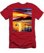 Naples-sunset Above Vesuvius - Palette Knife Oil Painting On Canvas By Leonid Afremov Men's T-Shirt (Athletic Fit)