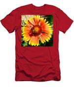 Orange Fiery Gaillardia Flower And Bee Macro Men's T-Shirt (Athletic Fit)