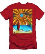 Original Tropical Surfing Whimsical Fun Painting Waiting For The Surf By Madart Men's T-Shirt (Athletic Fit)