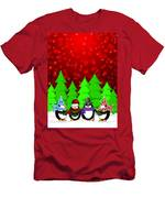 Penguins Carolers Singing With Red Winter Scene Illustration Men's T-Shirt (Athletic Fit)
