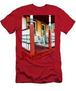 Porch With Red White And Blue Railing Men's T-Shirt (Athletic Fit)