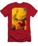 Red Butterfly On African Marigold Men's T-Shirt (Athletic Fit)