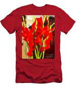 Red Glads Blooming Men's T-Shirt (Athletic Fit)