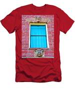Two Gargoyle-like Figures Above And Below Window Of Moore Block In Pipestone-minnesota Men's T-Shirt (Athletic Fit)