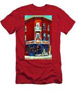 Verdun Landmarks Pierrette Patates Resto Cafe  Deli Hot Dog Joint- Historic Marquees -montreal Scene Men's T-Shirt (Athletic Fit)