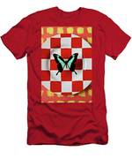 Green And Black Butterfly On Red Checker Plate Men's T-Shirt (Athletic Fit)