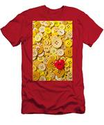 Red Heart And Yellow Buttons Men's T-Shirt (Athletic Fit)