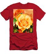Water Color Yellow Rose With Orange Flower Accents Men's T-Shirt (Athletic Fit)