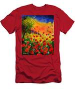 Red Poppies 451 Men's T-Shirt (Athletic Fit)