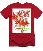 Red Lilies, Hand Drawn Painting Men's T-Shirt (Athletic Fit)
