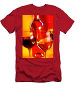 Abstract Bottle Of Wine And Glasses Of Red And White Men's T-Shirt (Athletic Fit)
