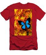 Blue Butterfly On Mums Men's T-Shirt (Athletic Fit)