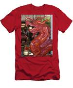 Carved Wood Dragon With Ball In Mouth Men's T-Shirt (Athletic Fit)