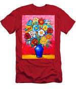 Colorful Roses And Camellias - Abstract Bouquet Of Flowers Men's T-Shirt (Athletic Fit)