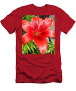Dark Orange Red Lily Men's T-Shirt (Athletic Fit)