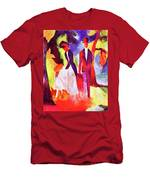 Folks At The Blue Sea By August Macke Men's T-Shirt (Athletic Fit)