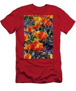 Garden With Blooming Yellow And Red Tulip Blossoms Men's T-Shirt (Athletic Fit)