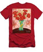 Green Vase And Poppies Men's T-Shirt (Athletic Fit)