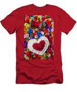 Heart Pushpin Chusion  Men's T-Shirt (Athletic Fit)
