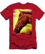 horse portrait PRINCETON purple brown yellow Men's T-Shirt (Athletic Fit)