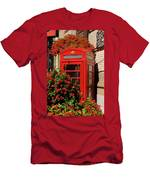 Old Red Telephone Box Or Booth Surrounded By Red Flowers In Toro Men's T-Shirt (Athletic Fit)