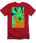 Orange Burst Flower Men's T-Shirt (Athletic Fit)