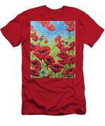 Red Poppies By Prankearts Men's T-Shirt (Athletic Fit)