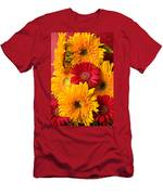 Sunflowers And Red Mums Men's T-Shirt (Athletic Fit)