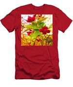 Festive Red Berries On Dancing Green Leaves Men's T-Shirt (Athletic Fit)